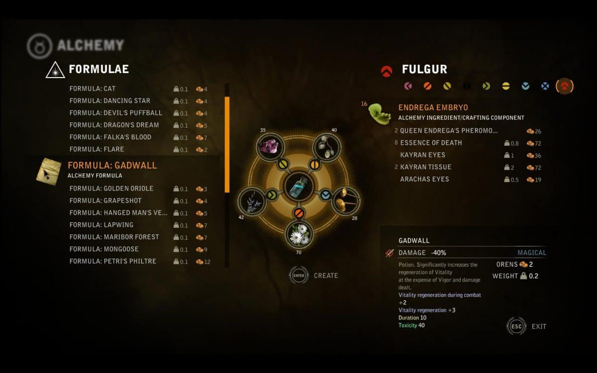 The Witcher 2 Alchemy Formulas Guide