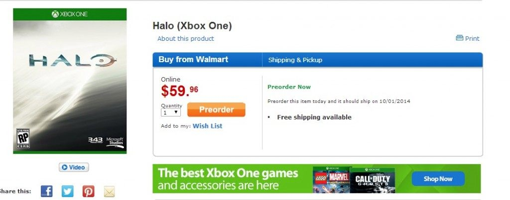 Halo Listing on Walmart, Is It Halo 5 or the Anniversary Edition?