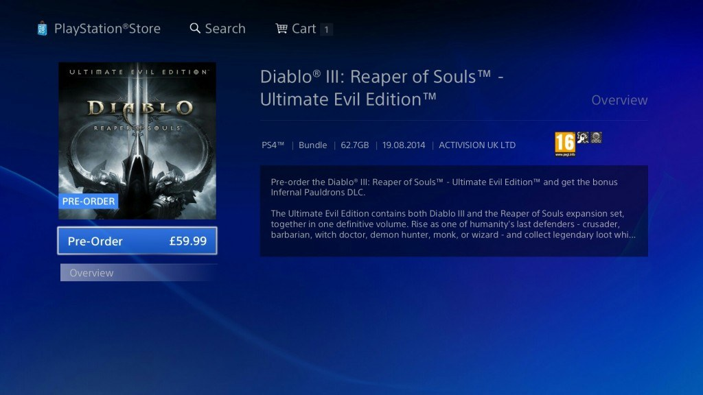Diablo 3: Ultimate Evil Edition on Playstation 4 Takes 62.7 GB of Space