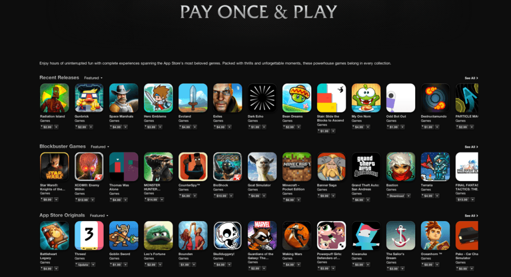 Apple Promote Pay Once and Play Model to Freemium Haters