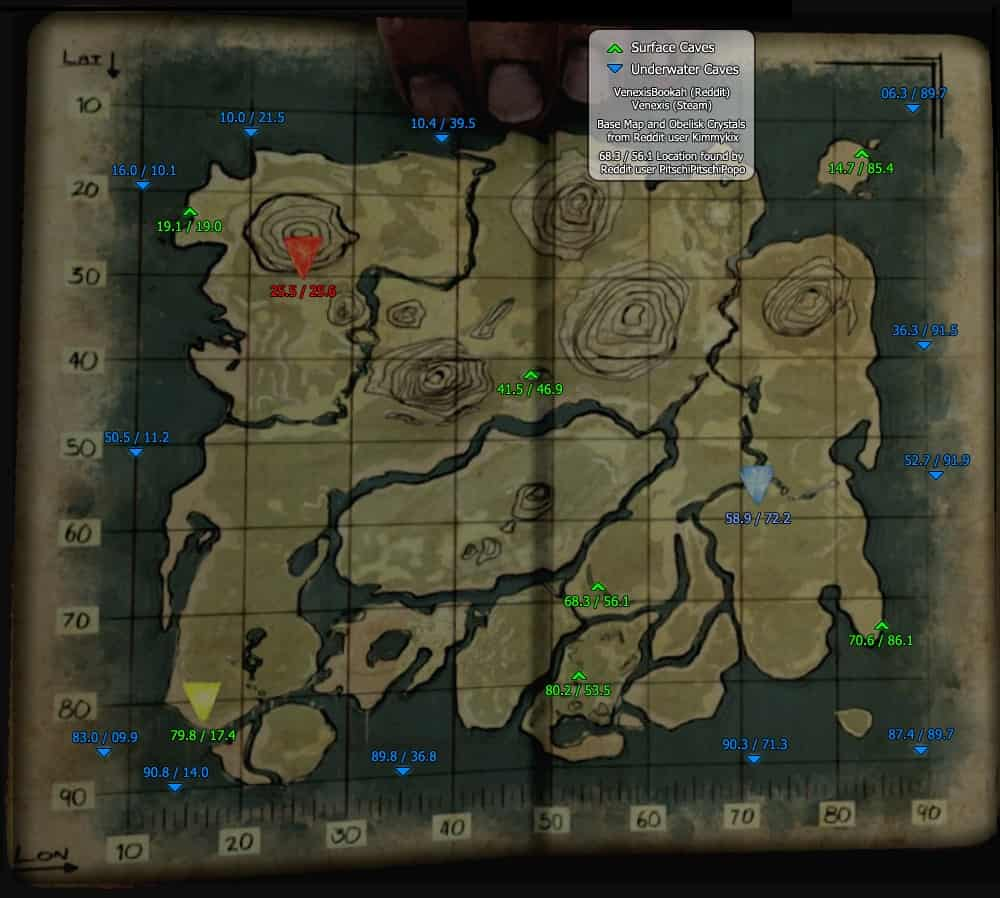 Ark: Survival Evolved Caves Locations Guide - Map Coordinates, Land