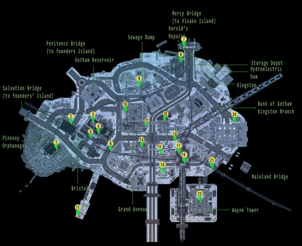 Batman Arkham Knight Riddler Riddles Locations Trophy