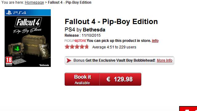 Fallout 4 Pip Boy Edition Goes On Sale At GameStop Italy