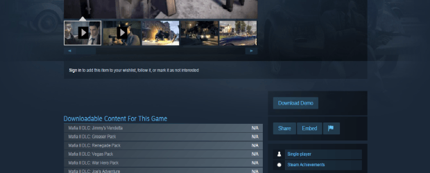 Mafia II and Related DLC is No Longer Available on Steam