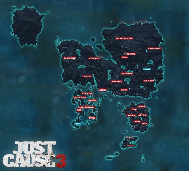 Here's a Look at the Full Just Cause 3 Map