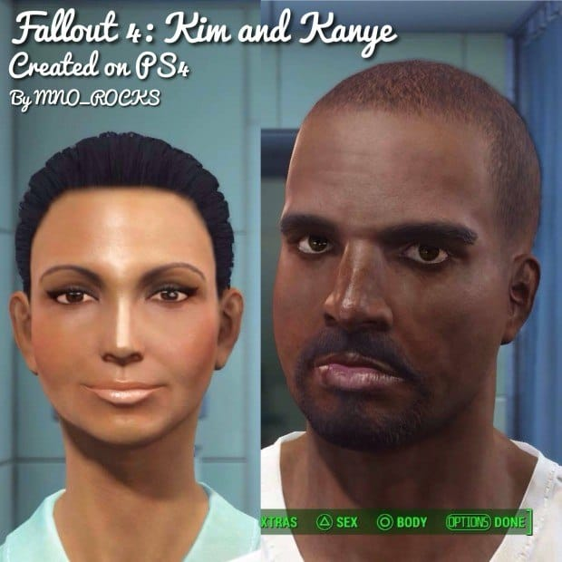 Fallout 4 Character Creation Famous Faces - Kim and Kanye