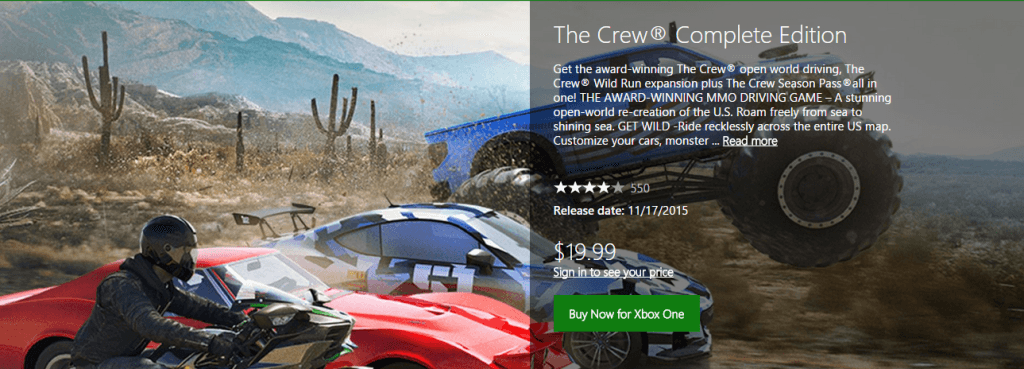 the crew complete edition is available for that price only on the american xbox store the complete edition comes with the base game along with all of the
