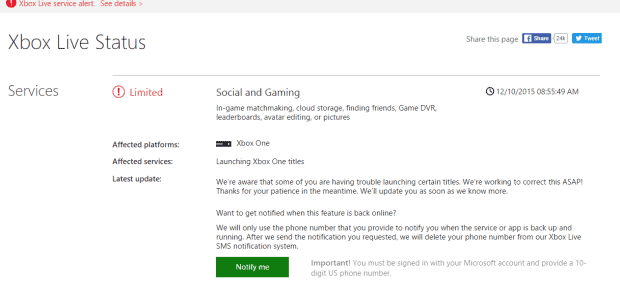 Xbox Live is Down on Xbox One, Social and Gaming Services