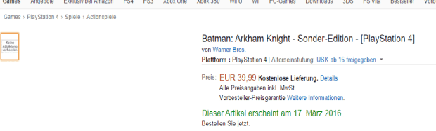 Batman Arkham Knight Special Edition Listed By Amazon Germany