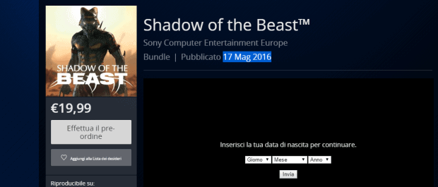 Shadow of the Beast release