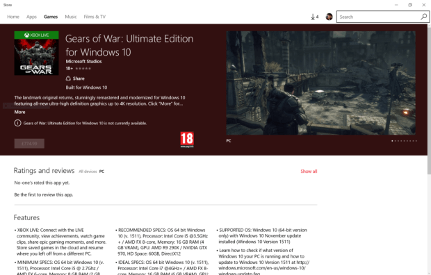 Windows 10 Gears of War: Ultimate Edition Appears on Windows Store
