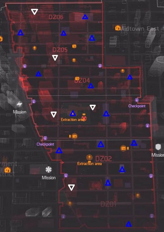 The Division Named Bosses and Named Dark Zone Enemies Locations Map