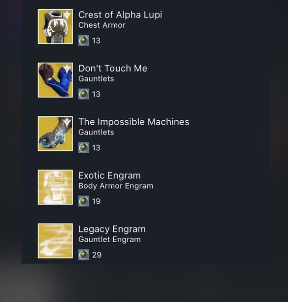 XUR Agent of the Nine Items and Location