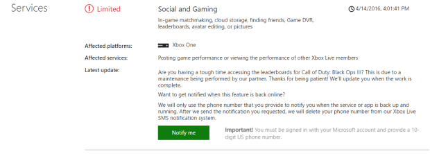 Xbox Live Gaming and Social Services are Down for Xbox One