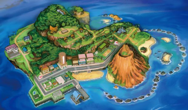 Pokemon Sun and Moon ALola Map - Island One