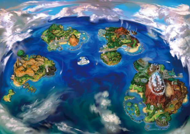 Pokemon Sun and Moon Alola Region Full Map