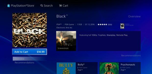 Black is Available on PlayStation 4