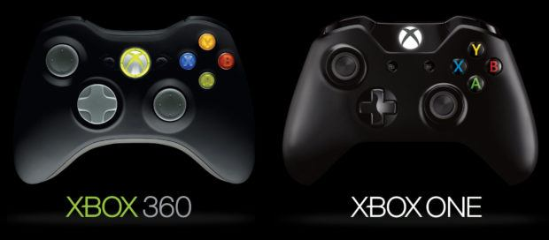 Xbox One and Xbox 360 controllers