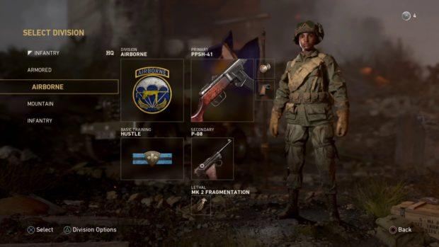 Call of Duty WW2 divisions