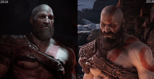 God Of War 4 Reveal Vs Story Trailer Graphics Comparison