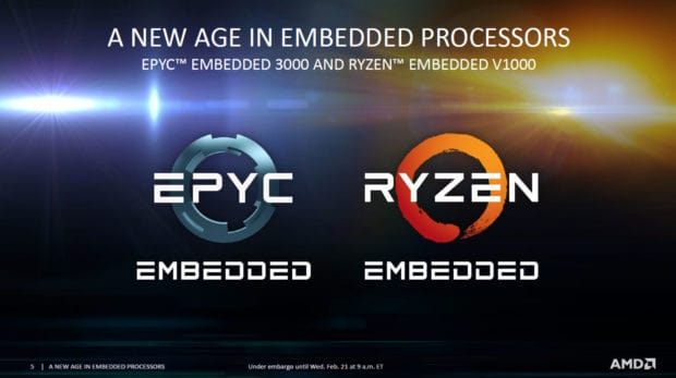 AMD EPYC 3000 and Ryzen V1000