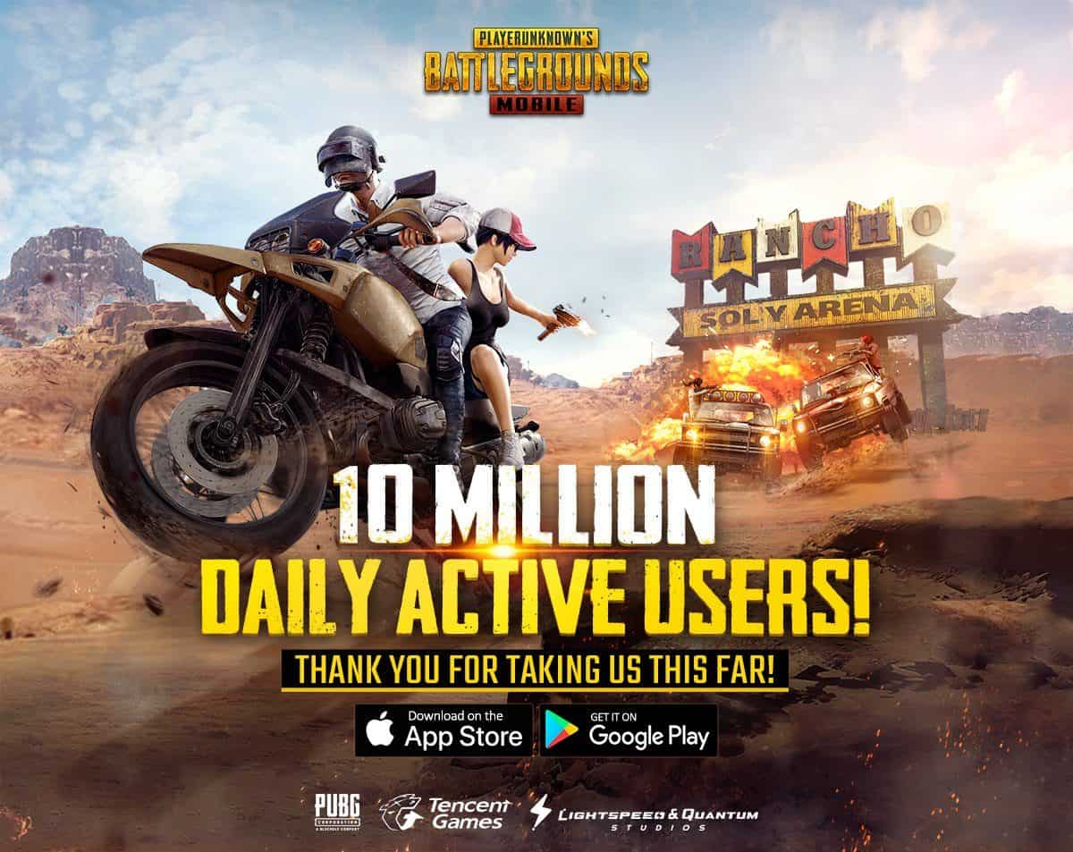 PUBG Mobile Has Surpassed 10 Million Daily Active Users