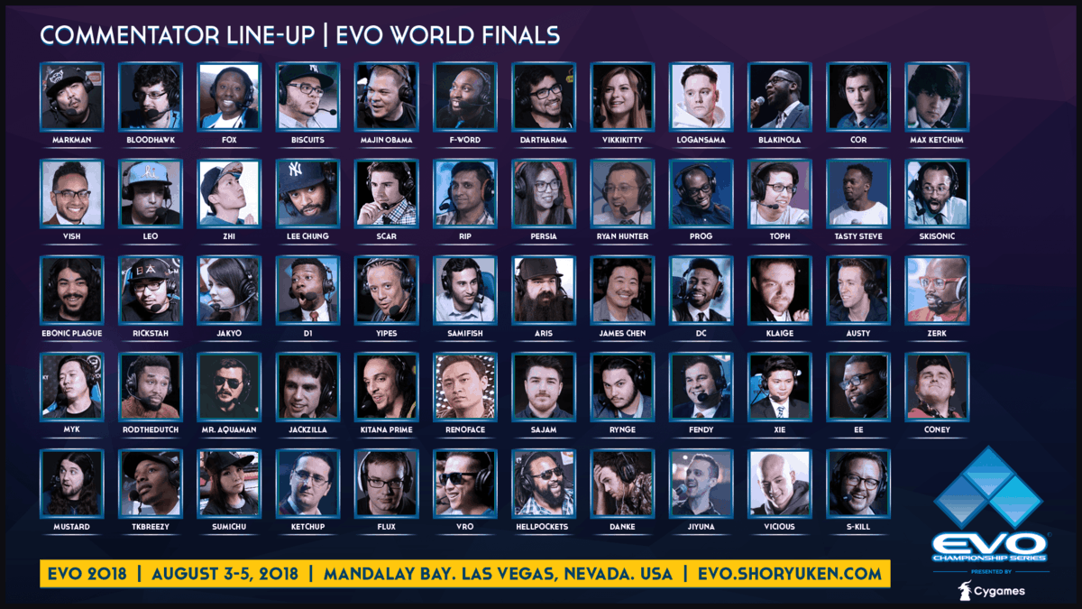 Evo 2018 On Air Team