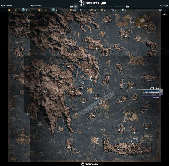 Assassin's Creed Odyssey World Map
