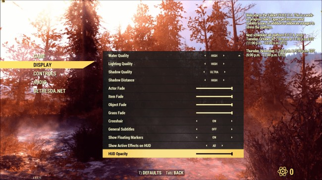 Fallout 76 PC Graphical Settings