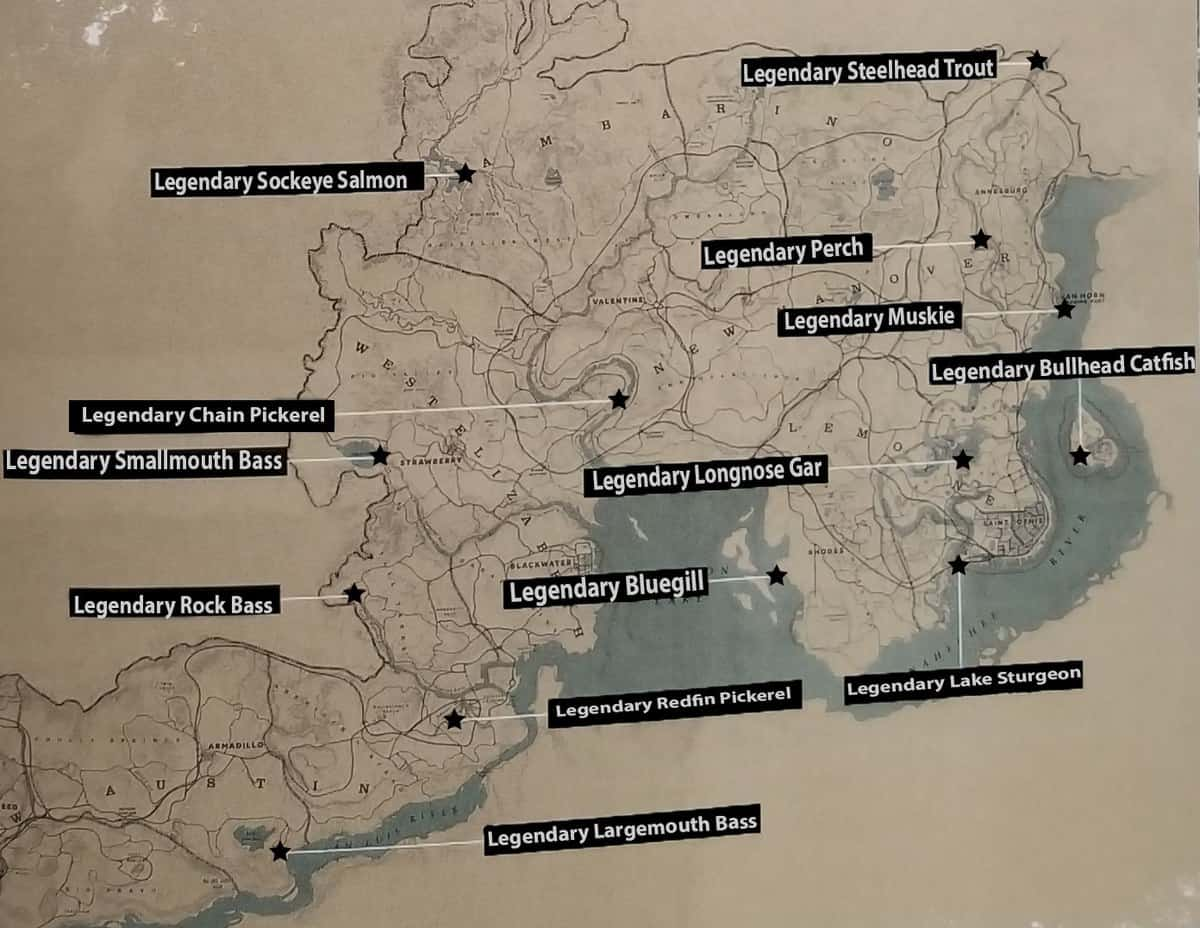RDR2 Legendary Fish Locations Map