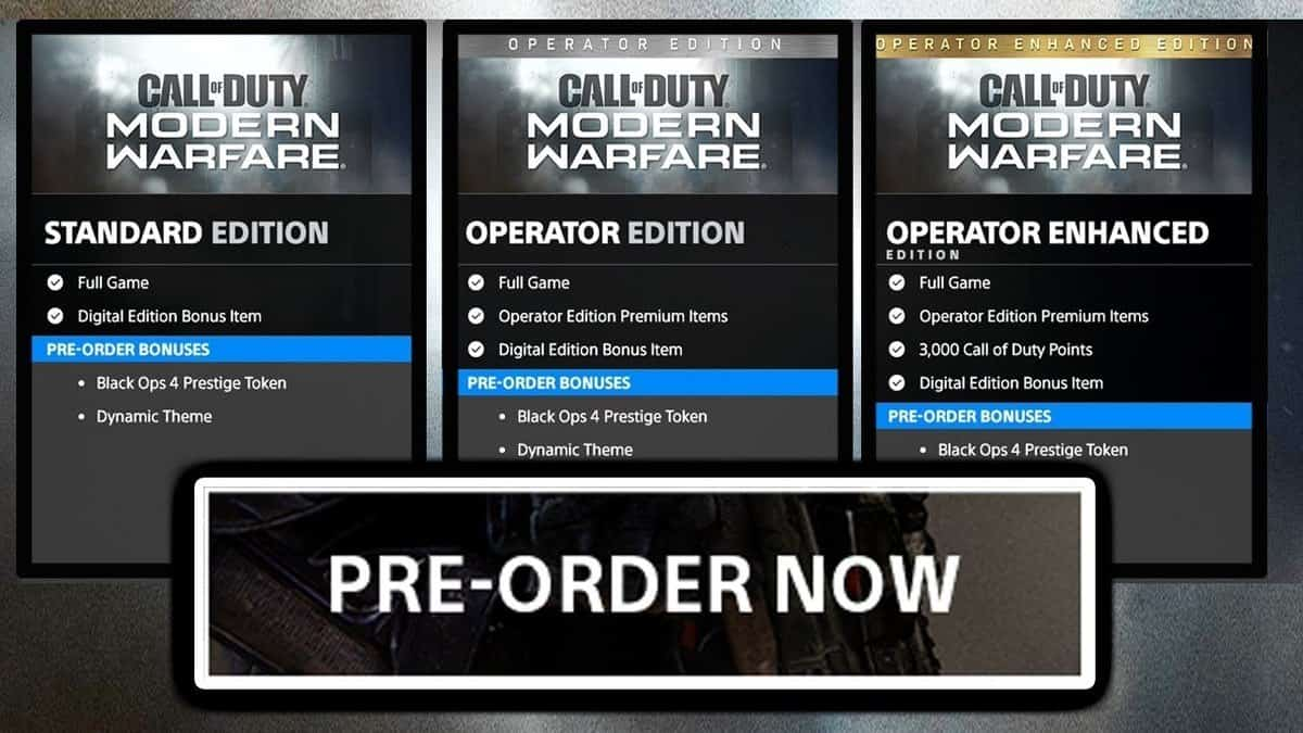Call of Duty: Modern Warfare Pre Order Guide