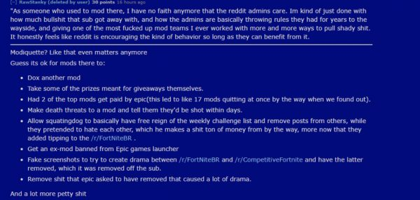Epic Games Accused of Paying Reddit Mods to Remove Posts