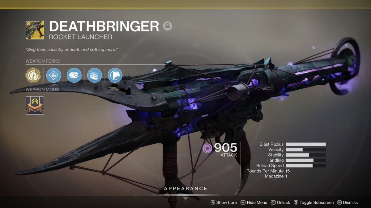 Destiny 2 Shadowkeep Deathbringer Rocket Launcher