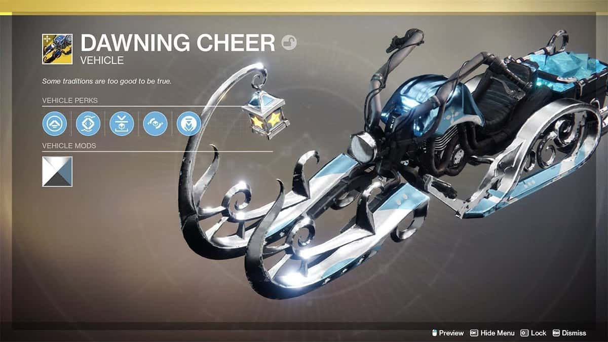 How to Make and Upgrade the Dawning Cheer Sparrow in Destiny 2