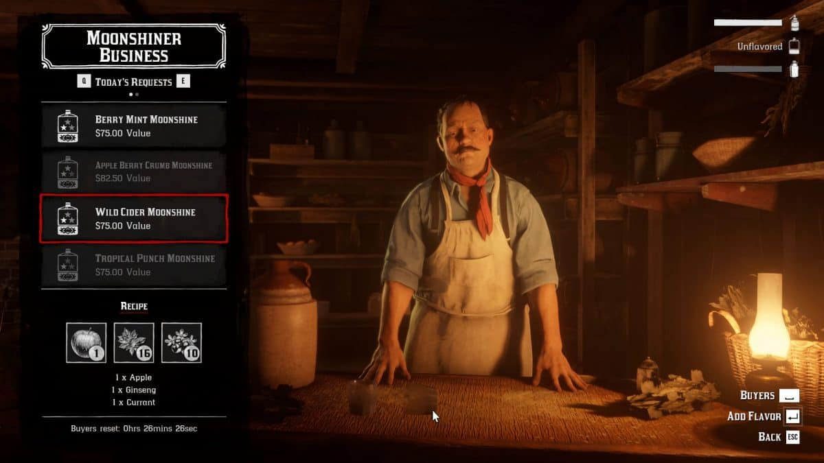 Red Dead Online Moonshine Recipes