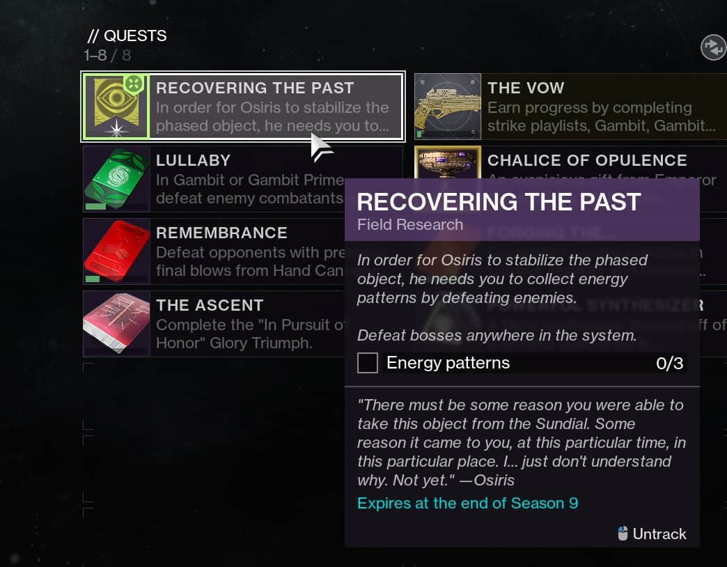 Destiny 2 Recovering the Past