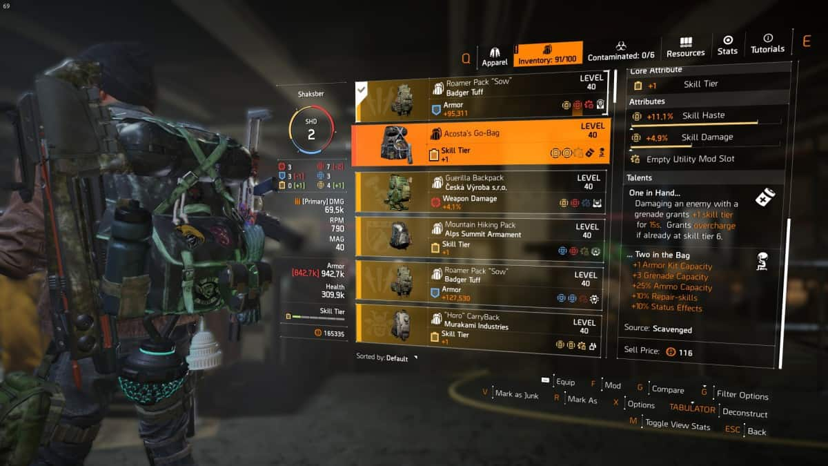 How To Get Acosta's Go-Bag Exotic Backpack in The Division 2