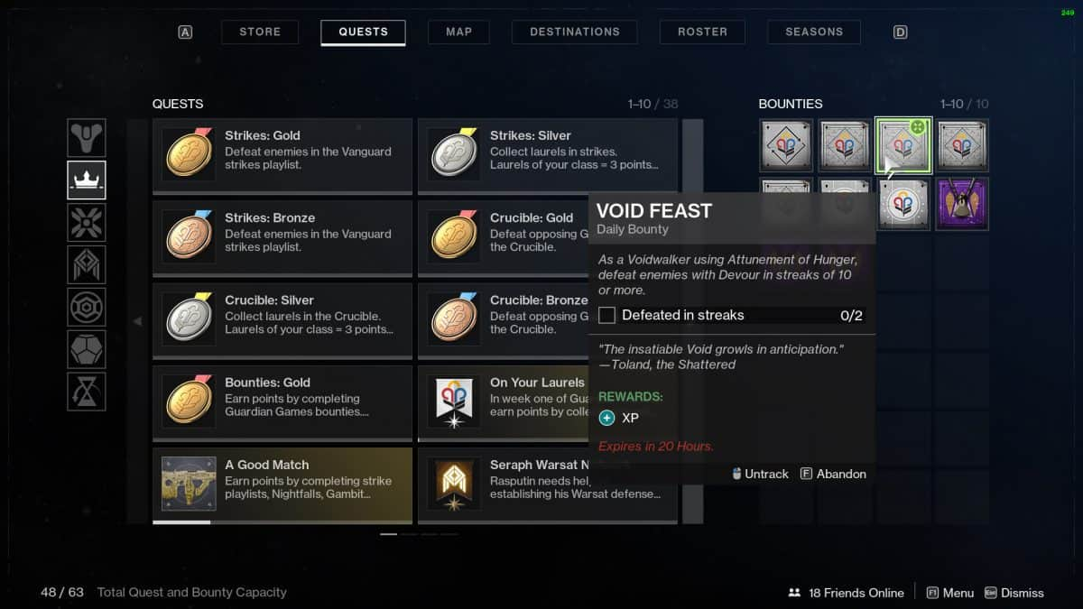 Destiny 2 Guardian Games Void Feast Bounty Guide