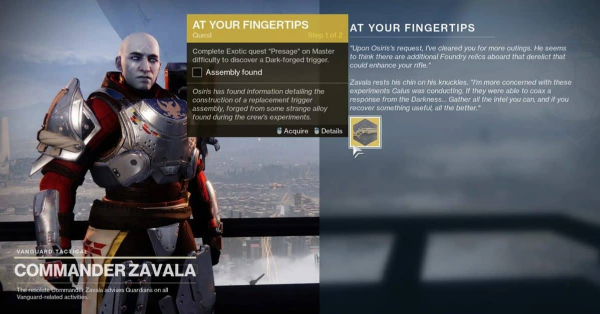 Destiny 2 At Your Fingertips Exotic Quest