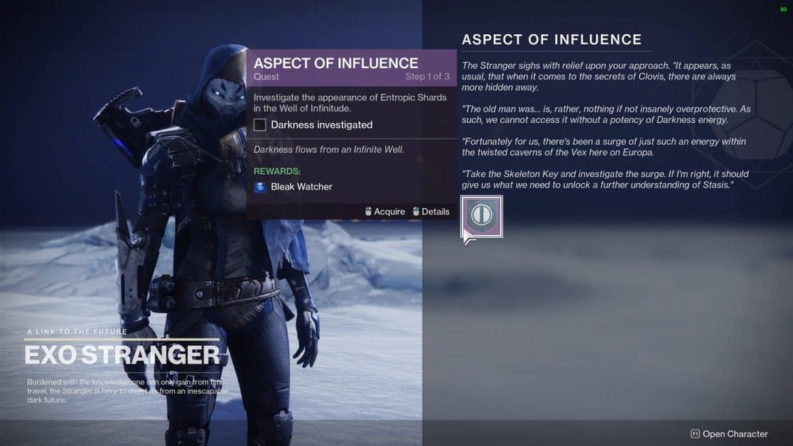 Destiny 2 Season of the Chosen Aspect of Influence Quest Guide