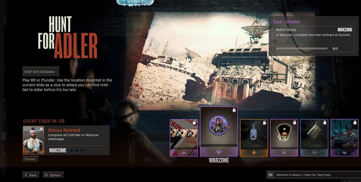 Call of Duty Warzone Season 3 Hunt for Adler Intel Challenges