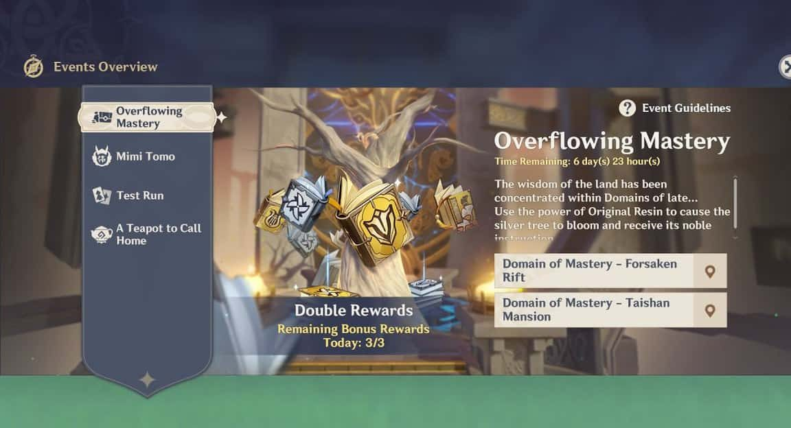 Genshin Impact Overflowing Mastery Event Guide