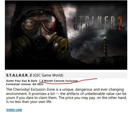STALKER 2 Is Going to Be An Xbox Exclusive for Atleast 3 Months